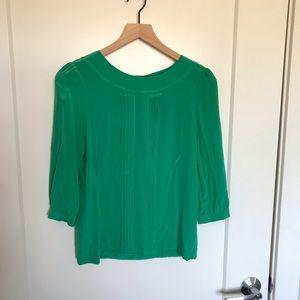 Kate Space Emerald Green 100% Silk Button Blouse